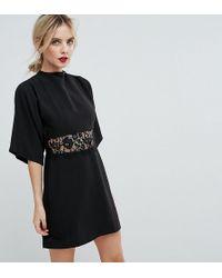 ASOS - Kimono Sleeve Lace Insert Mini Dress - Lyst
