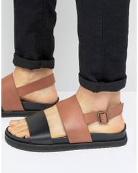 ASOS - Sandals In Black And Tan Leather With Wedge Sole - Lyst