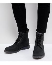 ASOS - Wide Fit Lace Up Boots In Black Leather With Ribbed Sole - Lyst
