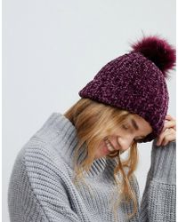 New Look - Burgundy Chenille Knit Faux Fur Pom Pom Hat - Lyst