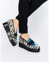 House of Holland - Zebra Print Flatform Shoes - Lyst