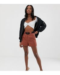 Missguided Brown Belted Shorts
