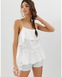 57bb317e4f782 Lyst - ASOS Cropped Cold Shoulder Cami Top in White
