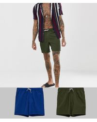 ASOS - Swim Shorts 2 Pack In Blue & Khaki Mid Length Multipack Saving - Lyst