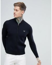 Fred Perry - Textured Bomber Cardigan In Black - Lyst
