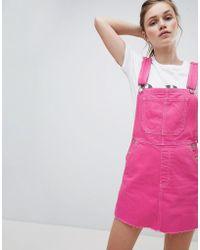 Bershka   Dungaree Dress In Pink   Lyst