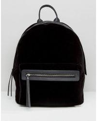 Pieces - Velvet Minimal Backpack - Lyst