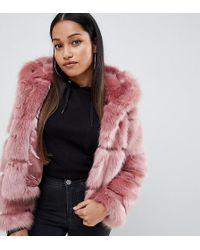 ASOS - Asos Design Petite Hooded Faux Fur Coat - Lyst