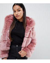 ASOS - Asos Design Petite Hooded Faux Fur Coat - Lyst