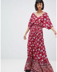 Mango - Wide Sleeve Maxi Dress In Floral Print - Lyst