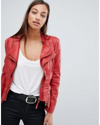 Forever Unique - Doubled Collared Faux Leather Jacket - Lyst