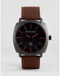 Racing Green - Brown Watch With Black Dial And Orange Markings - Lyst