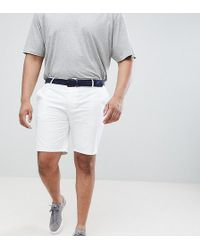River Island - Big & Tall Slim Shorts With Belt In White - Lyst