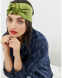 ASOS Headband In Satin With Stitched Knot Detail In Green