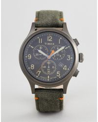 Timex - Tw2r60200 Expedition Chronograph Leather Watch In Olive - Lyst