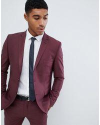 Boohoo - Slim Fit Suit Jacket In Burgundy - Lyst