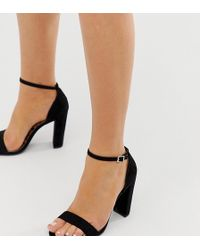 998a6b03afe Lyst - New Look Bow Detail Barely There Block Heel in Black