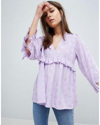 ASOS - Plunge Ruffle Smock Top In Jacquard - Lyst
