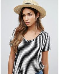 Vero Moda - Straw Fedora Hat - Lyst