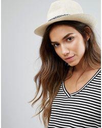Vero Moda - Straw Trilby Hat - Lyst