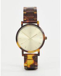 ASOS - Premium Watch With Tortoiseshell Printed Metal Strap - Lyst