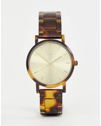 ASOS - Watch With Tortoiseshell Printed Metal Strap - Lyst