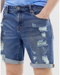 ASOS - Denim Shorts In Slim Dark Wash Blue With Heavy Rips - Lyst