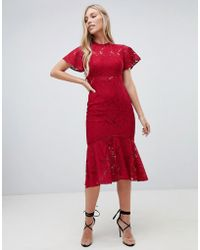d004bc7dbe68 Forever New Plunge Front Midi Dress With Ruched Sleeve And Pussybow ...
