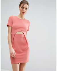 ASOS   Tulip Mini Dress With Cut Out In Texture   Lyst