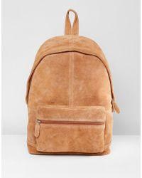 ASOS - Backpack In Tan Suede - Lyst