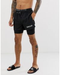 736839ced6 Calvin Klein Double Waistband Swim Shorts in Gray for Men - Lyst