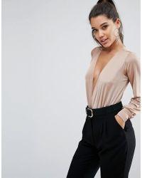 Lipsy - Plunge Slinky Long Sleeve Bodysuit - Lyst