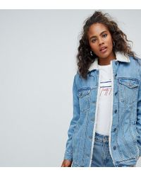ASOS - Asos Design Tall Denim Jacket With Borg Collar In Midwash Blue - Lyst