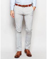 ASOS - Super Skinny Smart Trousers In Pale Grey - Lyst