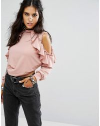 Glamorous - High Neck Cold Shoulder Sweatshirt With Ruffle Trims - Lyst