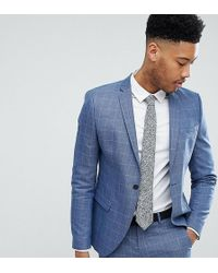 SELECTED - Skinny Fit Suit Jacket In Navy Grid Check - Lyst