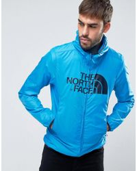 The North Face - Logo Hooded Jacket Drew Peak Windwall In Blue - Lyst