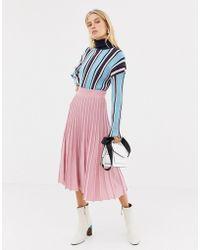 ASOS - Metallic Knit Midi Skirt In Eco Yarn - Lyst