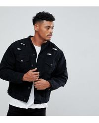 SIKSILK - Collarless Denim Jacket In Muscle Fit With Distressing - Lyst