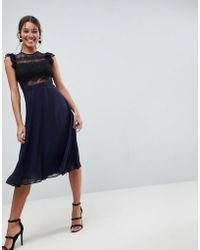ASOS - Lace Midi Dress With Lace Frill Sleeve - Lyst