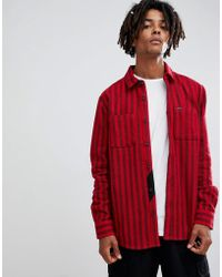 Volcom - Shader Striped Shirt In Red - Lyst