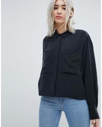 Weekday - Crop Cupro Blouse - Lyst