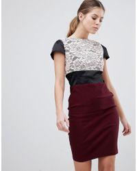 Vesper - Lace Panel Pencil Dress - Lyst