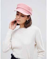 Miss Selfridge - Baker Boy Hat In Pink Cord - Lyst