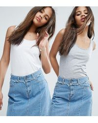 New Look - 2 Pack Vest Tops - Lyst