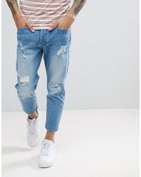Solid - Tapered Cropped Jeans With Rips In Light Blue - Lyst