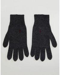 AllSaints - Fen Lambswool Blend Gloves In Charcoal - Lyst