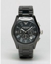 Emporio Armani - Ar1400 Chronograph Black Ceramic Watch - Lyst