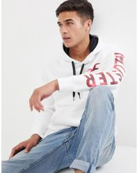 Hollister - Athletic Tech Front And Sleeve Logo Hoodie In White - Lyst