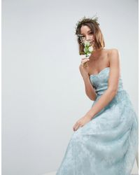 ASOS - Design Design Bridesmaid Delicate Lace Sheer Insert Bandeau Maxi Dress - Lyst
